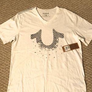 True Religion Mens V-Neck White T-Shirt Tee